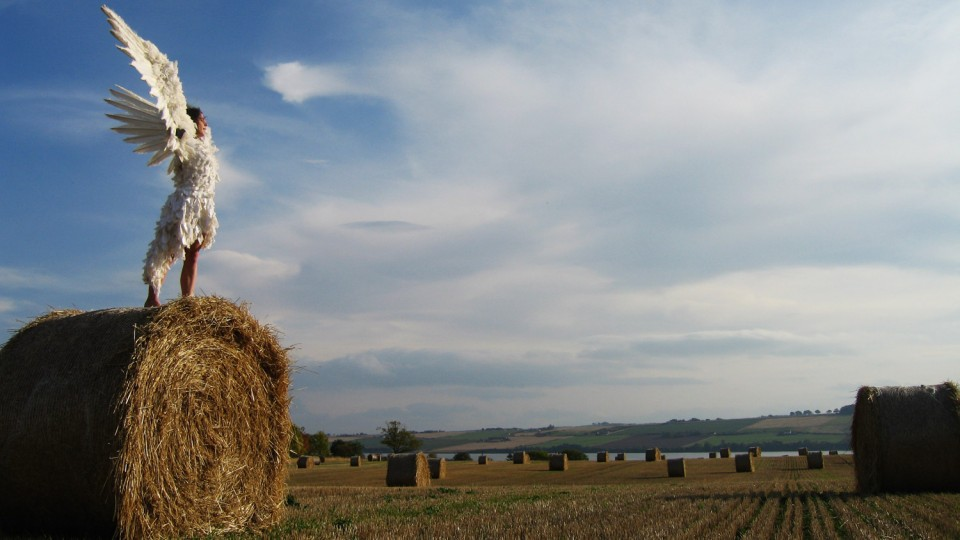 winged girl on haystack